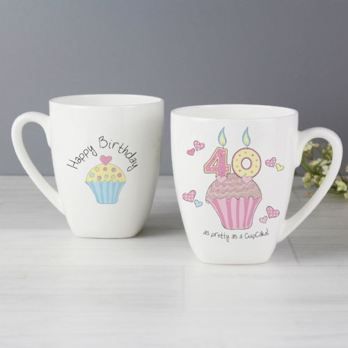 40th Birthday Latte Mug Gift - Cupcake Design Mug Gift for 40th birthday
